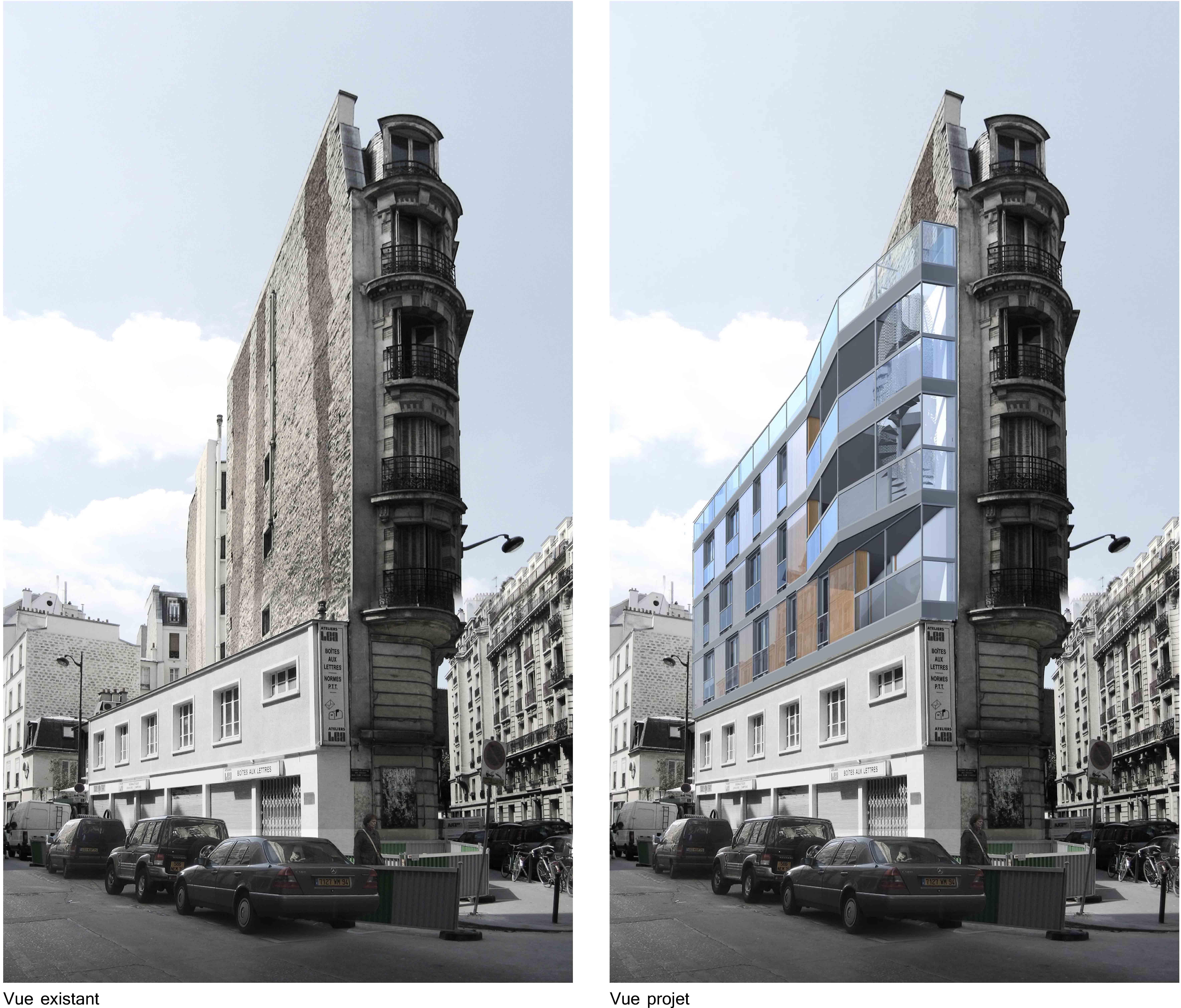 sur l vation i rue de la sabli re i paris 14 zoomfactor architectes paris. Black Bedroom Furniture Sets. Home Design Ideas